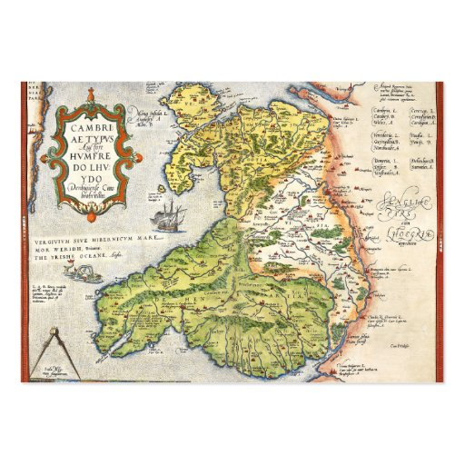 vintage map of wales and anglesey 1579 business card. Black Bedroom Furniture Sets. Home Design Ideas