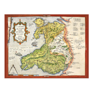 Vintage Map of Wales and Anglesey 1579 Post Cards