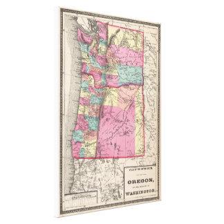 Vintage Map of Washington and Oregon (1872) Canvas Print