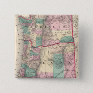 Vintage Map of Washington and Oregon (1875) 15 Cm Square Badge