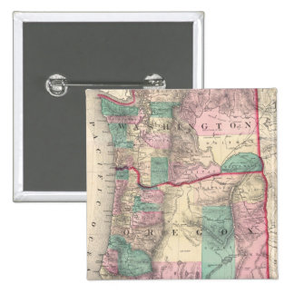 Vintage Map of Washington and Oregon (1875) 15 Cm Square Badge