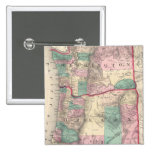Vintage Map of Washington and Oregon (1875) Pinback Button