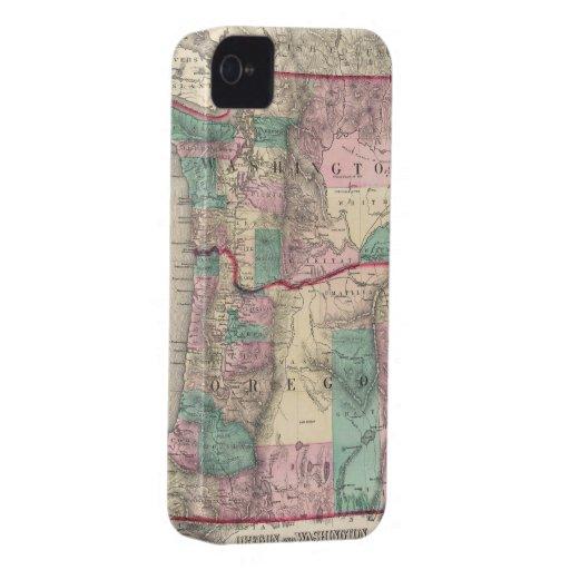Vintage Map of Washington and Oregon (1875) Case-Mate iPhone 4 Case