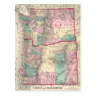Vintage Map of Washington and Oregon (1875) Postcard