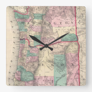 Vintage Map of Washington and Oregon (1875) Square Wall Clock
