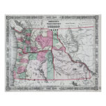 Vintage Map of Washington, Oregon and Idaho (1864) Poster