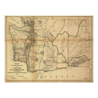 Vintage Map of Washington State (1866) Poster