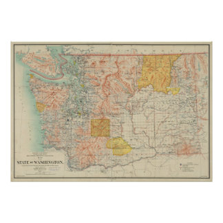 Vintage Map of Washington State (1897) Poster