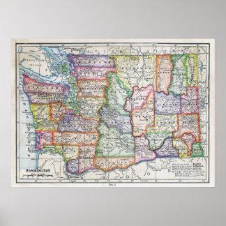 Vintage Map of Washington State Poster