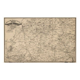 Vintage Map of Western Tennessee (1865) Poster