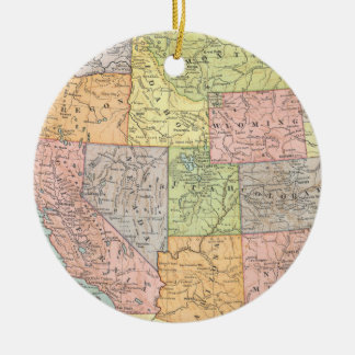 Vintage map of Western United States Christmas Ornament