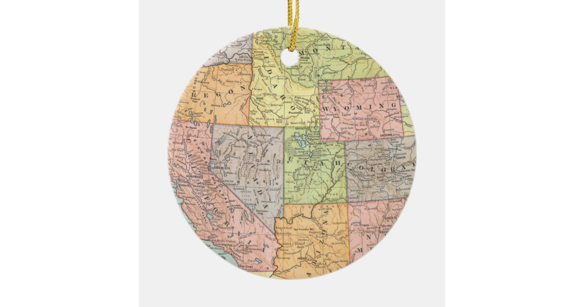 Vintage map of Western United States Christmas Ornament ...
