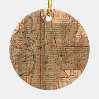 Vintage Map of Wichita Kansas (1943) Christmas Ornament