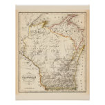 Vintage map of Wisconsin 1852 Poster