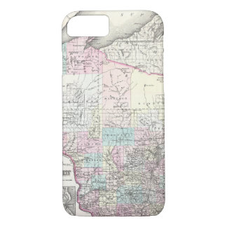 Vintage Map of Wisconsin (1855) iPhone 7 Case