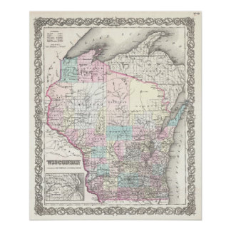 Vintage Map of Wisconsin (1855) Poster