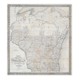 Vintage Map of Wisconsin (1856) Poster