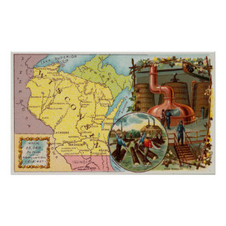 Vintage Map of Wisconsin with Illustrations (1890) Poster