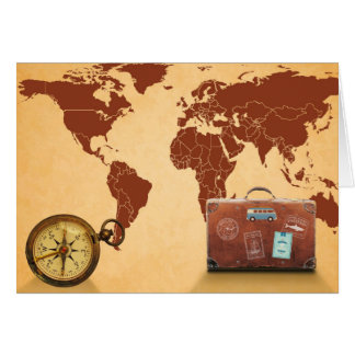 Vintage Map of World Print Card