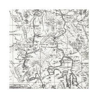 Vintage Map of Yellowstone National Park Canvas Print