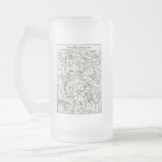 Vintage Map of Yellowstone National Park Frosted Glass Beer Mug