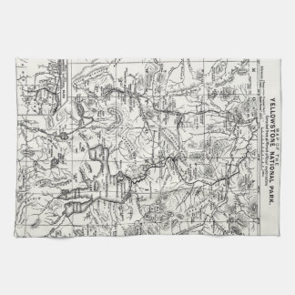 Vintage Map of Yellowstone National Park Tea Towel