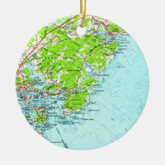 Vintage Map of York Maine (1956) Christmas Ornament