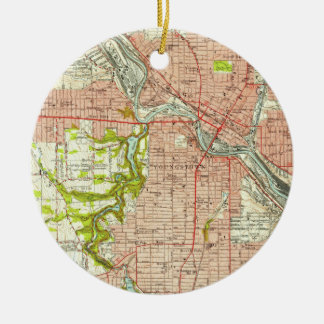 Vintage Map of Youngstown Ohio (1951) Christmas Ornament