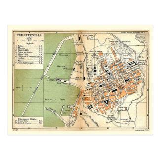 Vintage Map, Philippeville, Algeria, 1903 Postcard