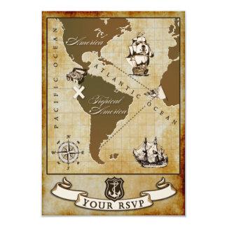 Vintage Map Pirate Birthday Party RSVP Cards 9 Cm X 13 Cm Invitation Card