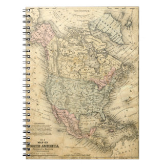 Vintage Map Print of North America Notebook