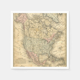 Vintage Map Print of North America Paper Serviettes