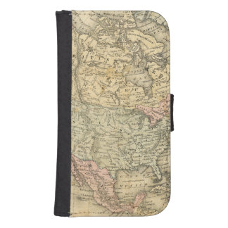 Vintage Map Print of North America Samsung S4 Wallet Case