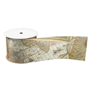 Vintage Map Print Satin Ribbon