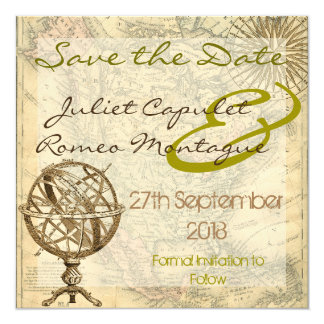 Vintage Map Save the Date Card