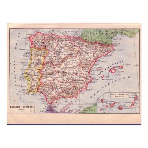 Vintage map, Spain,  circa 1920 Post Card