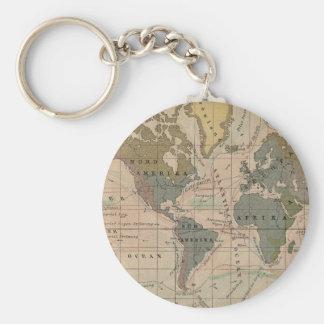 Vintage Map Sud Amerika, Afrika, Nord Amerika Basic Round Button Key Ring