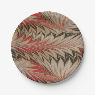 Vintage marbleized leaf design says Classy Plates 7 Inch Paper Plate
