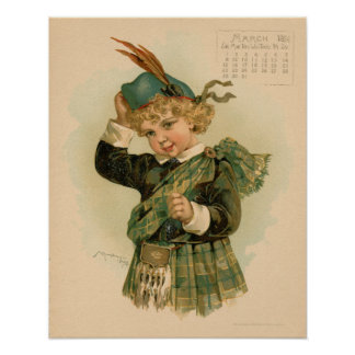 Vintage March 1891 beautiful children drawing Poster