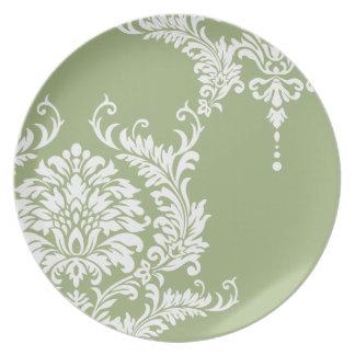 Vintage Margarita Green and White Damask Dinner Plates