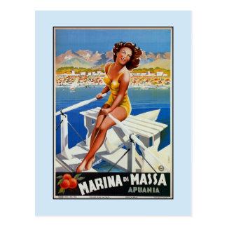 Vintage Marina di Massa Italian travel advertising Postcard