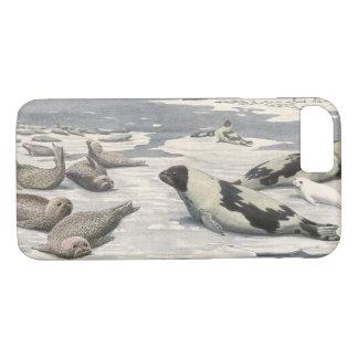 Vintage Marine Animals, Harp Seals in Arctic Snow iPhone 7 Case