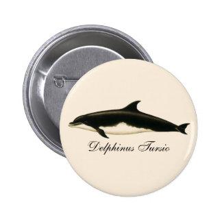 Vintage Marine Animals, Mammals, Dolphins 6 Cm Round Badge