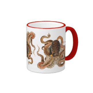 Vintage Marine Animals, Octopus Vulgaris Ringer Mug