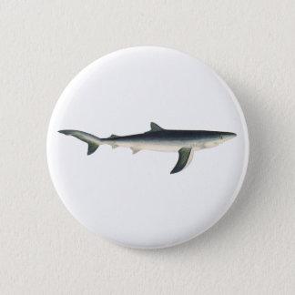 Vintage Marine Aquatic Ocean Life, Blue Shark 6 Cm Round Badge
