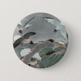 Vintage Marine Birds, Seagulls Flying over Ocean 6 Cm Round Badge