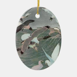 Vintage Marine Birds, Seagulls Flying over Ocean Ceramic Oval Decoration