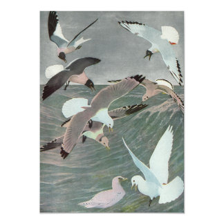 Vintage Marine Birds, Seagulls Flying over Ocean Card