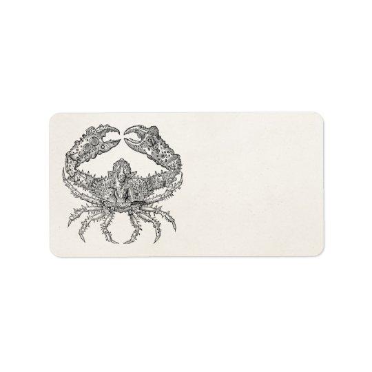 Vintage Marine Crab Parchment Personalised Address Label