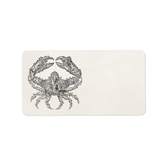 Vintage Marine Crab Parchment Personalised Label